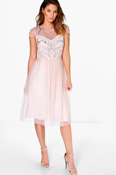 Boohoo Boutique Chiara Embellished Babydoll Dress in nude - Dresses are the most-wanted wardrobe item for...