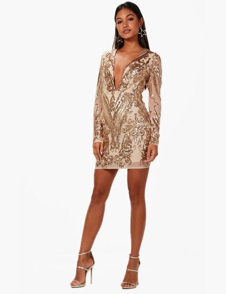 Boohoo Boutique Christie Sequin Mesh Bodycon Dress in gold - Spin your way through cocktail hour in our selection of...