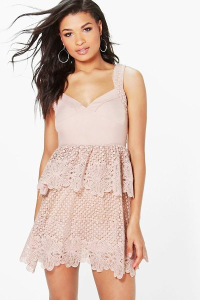 Boohoo Boutique Corded Lace Panel Detail Peplum Dress in blush - Dresses are the most-wanted wardrobe item for...