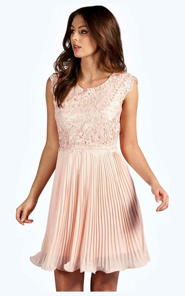 Boohoo Boutique Corded Lace Pleated Skater Dress in blush