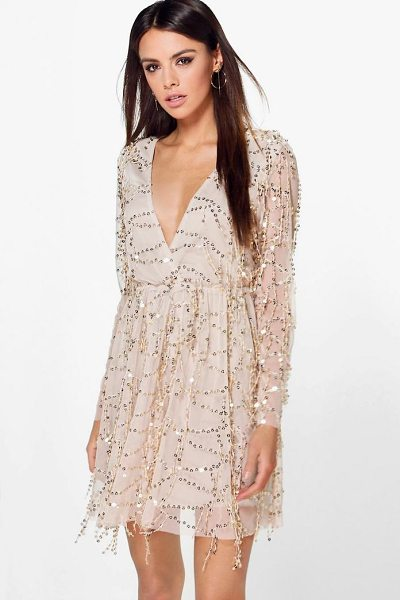 BOOHOO Boutique Dana Sequin Wrap Over Skater Dress - Every girl's wardrobe should include a skater dress. A...