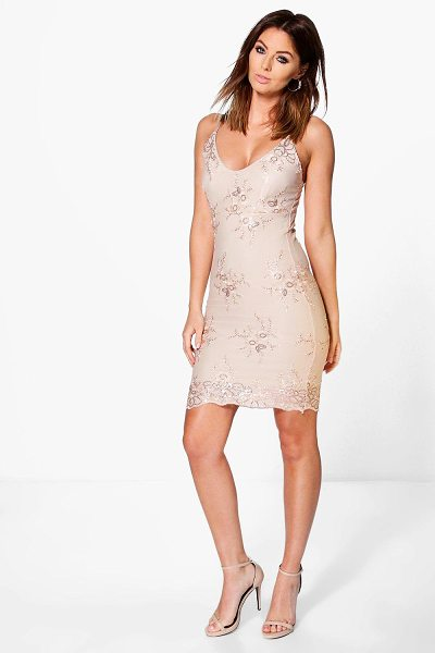 Boohoo Boutique Di Sequin Lace Midi Bodycon Dress in beige - Dresses are the most-wanted wardrobe item for...