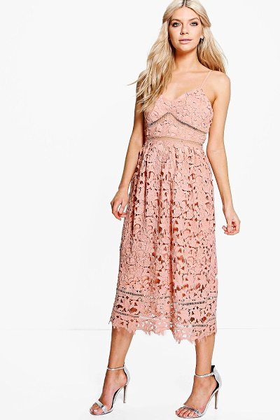 Boohoo Boutique Dia Corded Lace Midi Skater Dress in blush - Dresses are the most-wanted wardrobe item for...