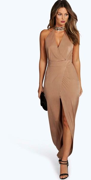 Boohoo Boutique Dia Embellished Collar Wrap Maxi Dress in mink - Full-on fashion starts with a floor-sweeping maxi...