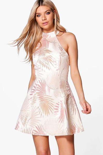 BOOHOO Boutique Dora Metallic Jacquard Skater Dress in nude - Dresses are the most-wanted wardrobe item for...
