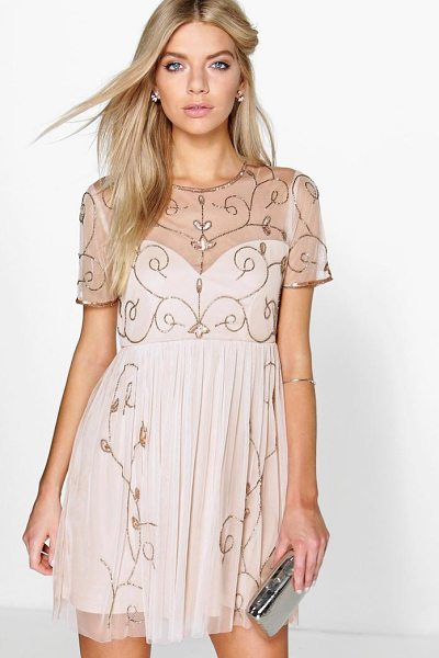 Boohoo Boutique Embellished Skater Dress in nude - Dresses are the most-wanted wardrobe item for...