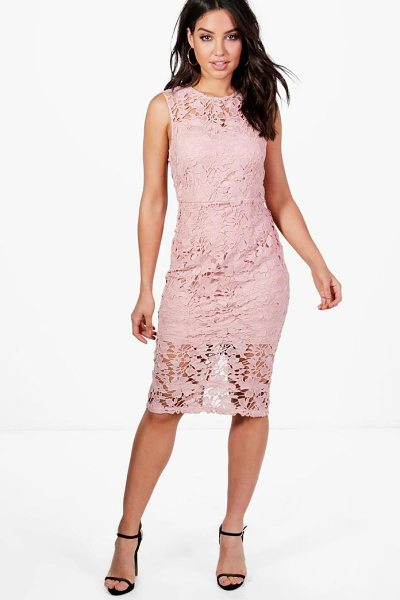 Boohoo Boutique Eleanor Lace Sleeveless Midi Dress in blush - Spin your way through cocktail hour in our selection of...