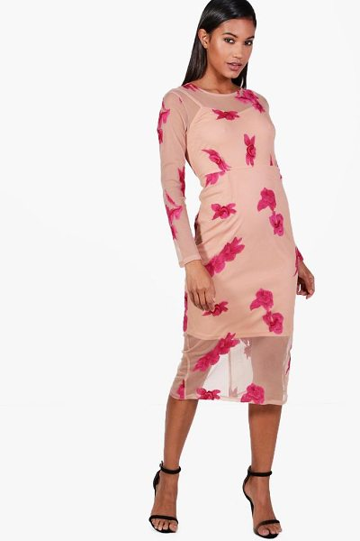 Boohoo Boutique Embroidered Mesh Midi Dress in pink