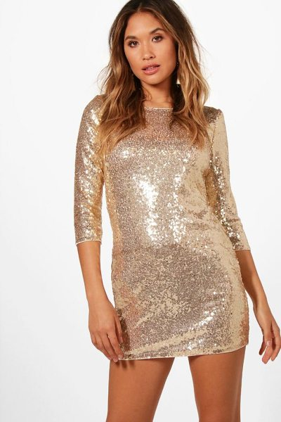 Boohoo Boutique Eliza Sequin Bodycon Dress in gold - Dresses are the most-wanted wardrobe item for...
