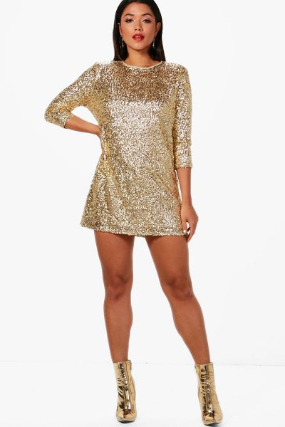 Boohoo Boutique Sequin Long Sleeve Shift Dress in gold - Dresses are the most-wanted wardrobe item for...