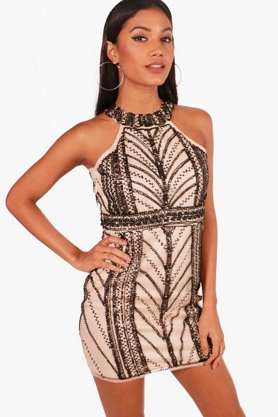 Boohoo Boutique Embellished Bodycon Dress in blush