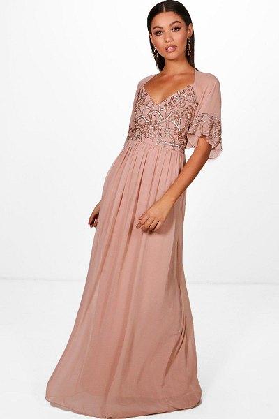Boohoo Womens Boutique Embellished Maxi Dress - pink - 8 in rose