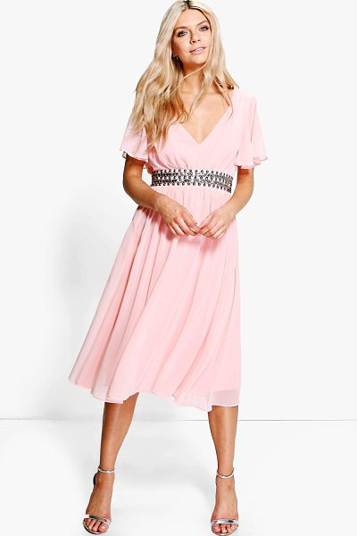 Boohoo Boutique Emi Embellished Waist Midi Dress in blush - Dresses are the most-wanted wardrobe item for...