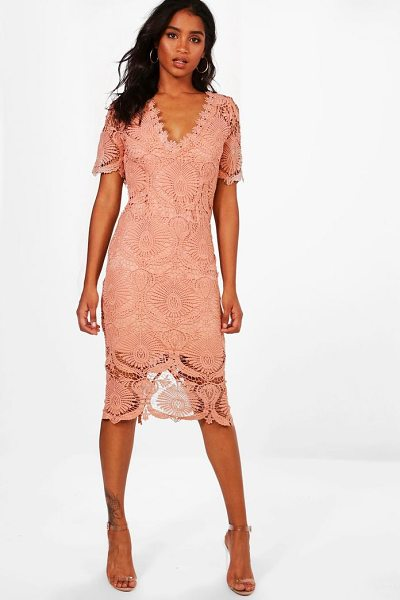 Boohoo Boutique Lace Cap Sleeve Midi Dress in blush - Dresses are the most-wanted wardrobe item for...