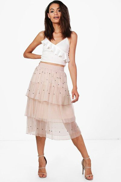 Boohoo Boutique Farah Beaded Layered Tulle Skirt in taupe - Skirts are the statement separate in every wardrobe This...