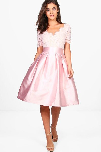 Boohoo Boutique Eyelash Lace Skater Dress in blush