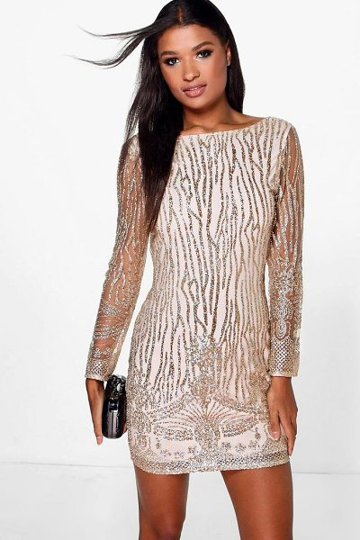 Boohoo Boutique Faye Sequin Print Bodycon Dress in gold - Dresses are the most-wanted wardrobe item for...