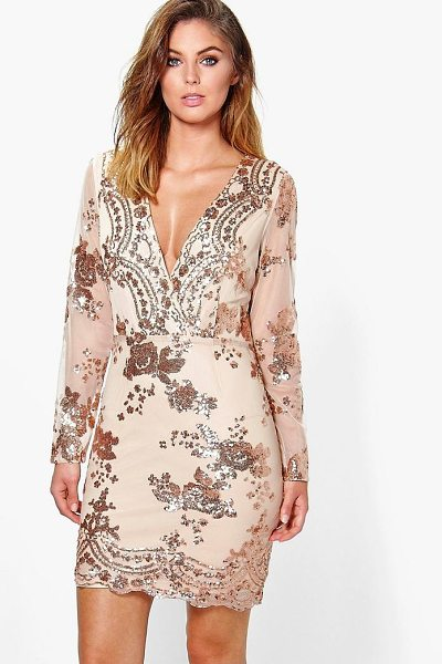 Boohoo Boutique Fi Sequin Print Mesh Bodycon Dress in gold - Heading out' Out-sparkle the crowd in a killer sequin...