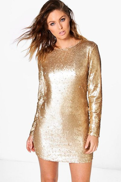 Boohoo Boutique Fliss Sequin Bodycon Dress in gold - Dresses are the most-wanted wardrobe item for...