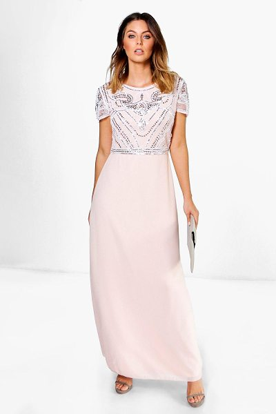 Boohoo Boutique Sequin Embellished Maxi Bridesmaid Dress in blush