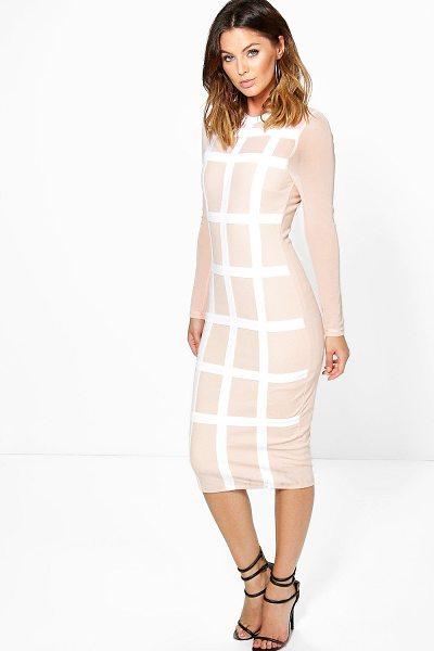 Boohoo Boutique Gia Grid Mesh Bodycon Midi Dress in nude - Spin your way through cocktail hour in our selection of...