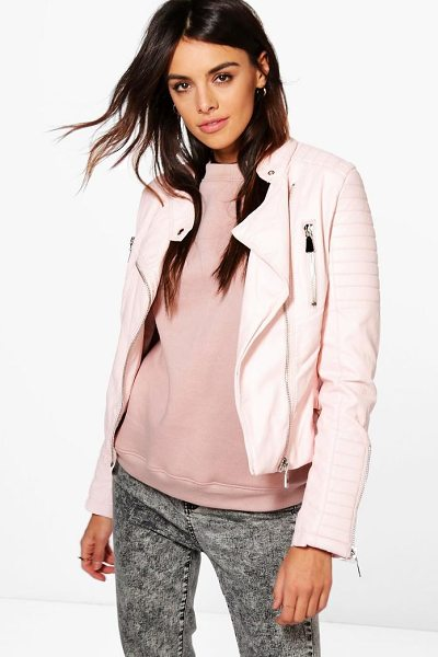 Boohoo Boutique Harriet Leather Look Quilted Biker Jacket in nude - Wrap up in the latest coats and jackets and get...