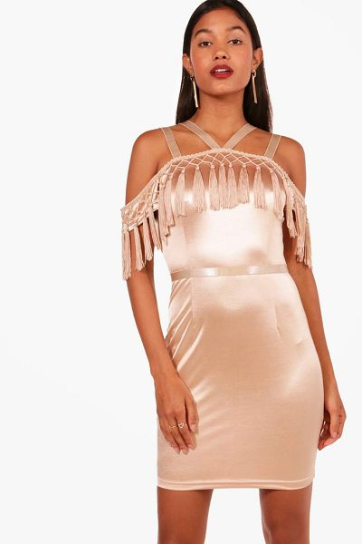 Boohoo Boutique Tassel Bodycon Dress in nude - Dresses are the most-wanted wardrobe item for...
