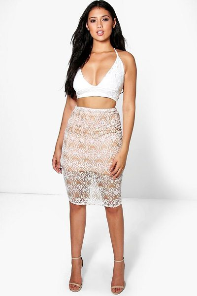 Boohoo Boutique Honor Embellished Midi Skirt in nude - Skirts are the statement separate in every wardrobe This...