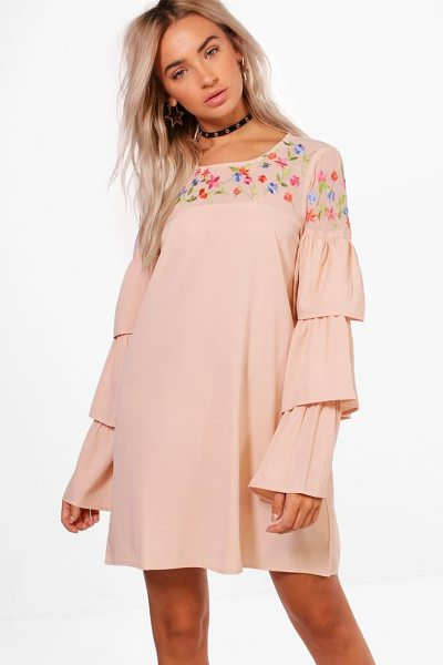669d03529650 Boohoo Boutique Izzy Embroidered Frill Sleeve Shift Dress | Nudevotion