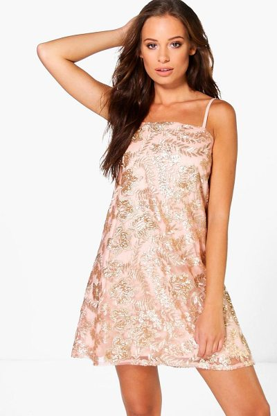 BOOHOO Boutique Janey Sequin Embroidered Shift Dress in gold - Dresses are the most-wanted wardrobe item for...