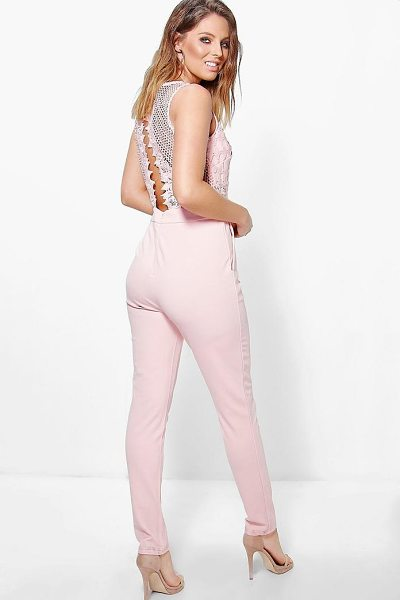 Boohoo Boutique Jen Statement Back Skinny Leg Jumpsuit in blush - Jumpsuits are your day-to-night dress alternativeYour...