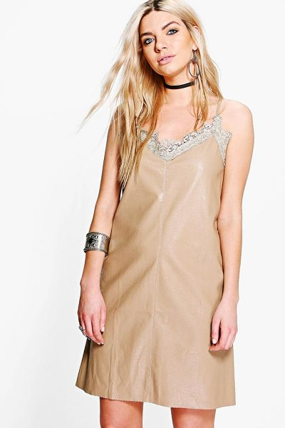 Boohoo Boutique Jess PU Slip Dress in beige - Dresses are the most-wanted wardrobe item for...