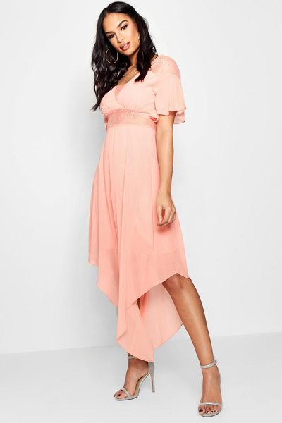 Boohoo Boutique Lace Insert Hanky Hem Dress in apricot - Dresses are the most-wanted wardrobe item for...