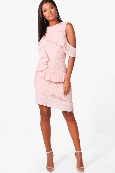Boohoo Boutique Cold Shoulder Frill Dress in pink