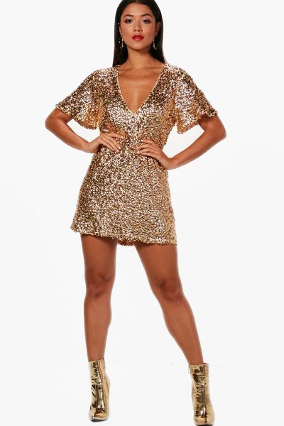 Boohoo Boutique Kate Sequin Short Sleeve Shift Dress in gold - Dresses are the most-wanted wardrobe item for...