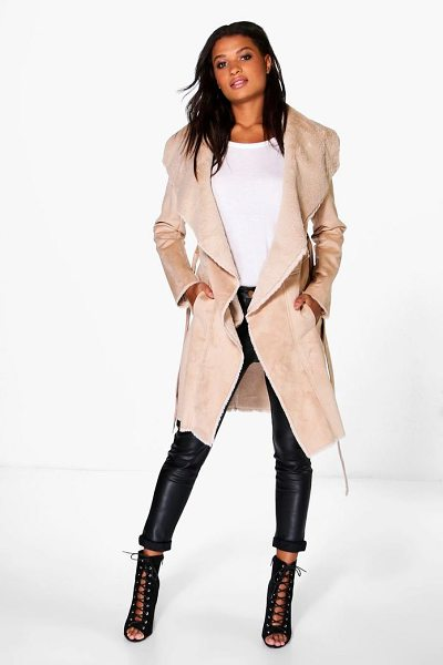 Boohoo Boutique Katie Bonded Faux Fur Suedette Belted Coat in nude - Wrap up in the latest coats and jackets and get...