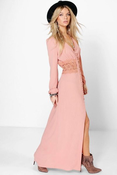 Boohoo Boutique Kia Lace Waist Button Maxi Dress in rose - Pared back day dresses are the perfect base for layering...