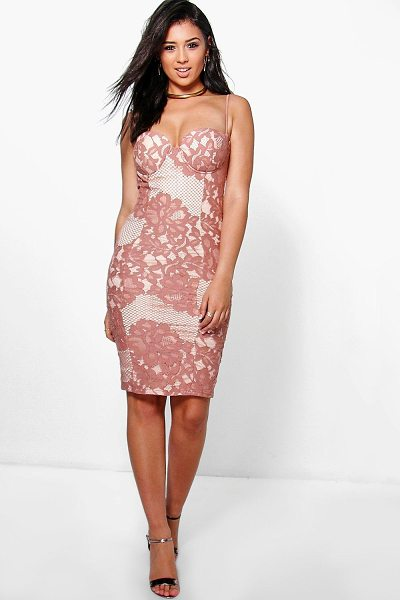 Boohoo Boutique Kyra Lace Bustier Detail Midi Dress in rose - Get dance floor-ready in an entrance-making evening...