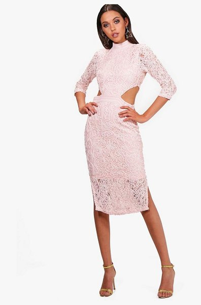 Boohoo Boutique Lace Cutout Midi Dress in pink - Dresses are the most-wanted wardrobe item for...