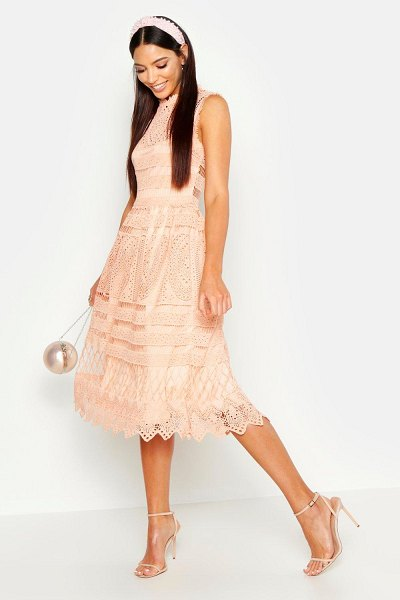 Boohoo Boutique Lace Skater Bridesmaid Dress in peach