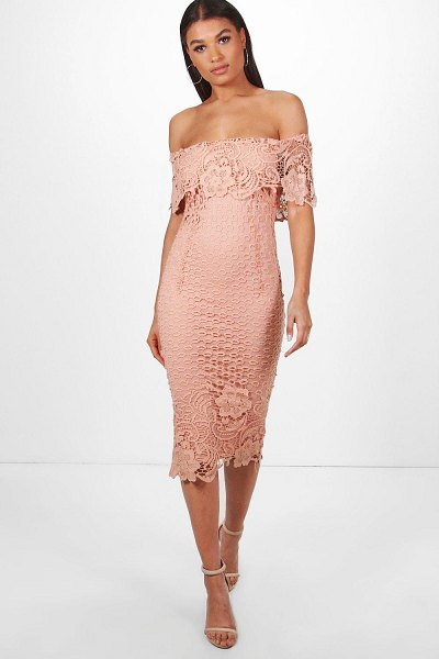 Boohoo Boutique Lace Off Shoulder Midi Dress in blush