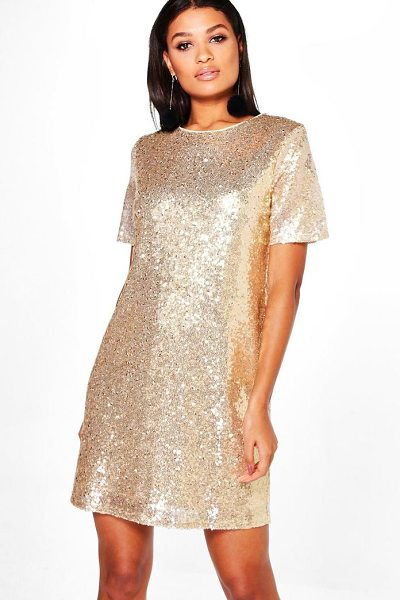 Boohoo Boutique Lacey Sequin T-Shirt Dress in gold - Dresses are the most-wanted wardrobe item for...