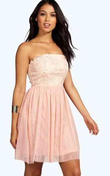Boohoo Boutique Lana Corded Bandeau Prom Dress in nude - Get dance floor-ready in an entrance-making evening...