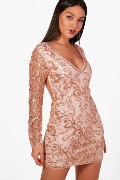 Boohoo Boutique Embellished Bodycon Dress in rose - Dresses are the most-wanted wardrobe item for...