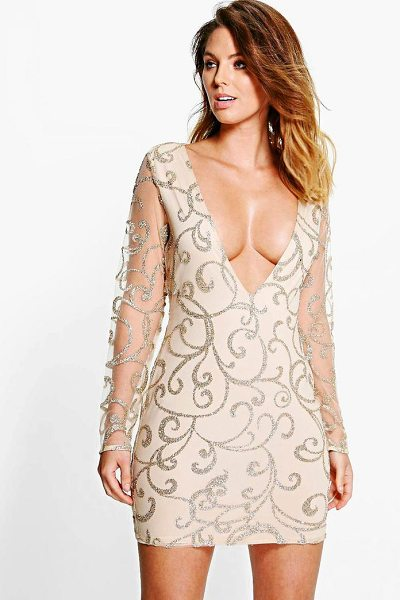 Boohoo Boutique Lia Sequin Print Plunge Bodycon Dress in gold - Dresses are the most-wanted wardrobe item for...