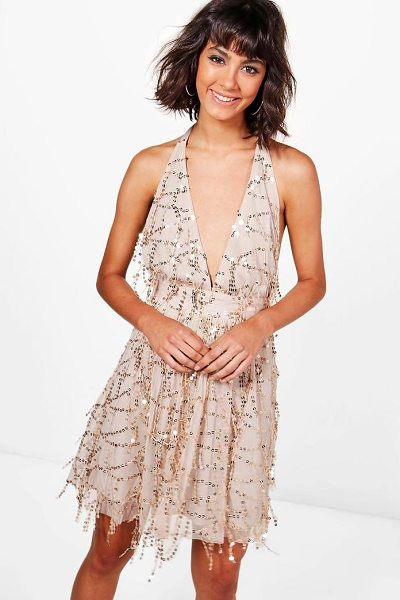Boohoo Boutique Lil Sequin Halterneck Skater Dress in gold - Dresses are the most-wanted wardrobe item for...