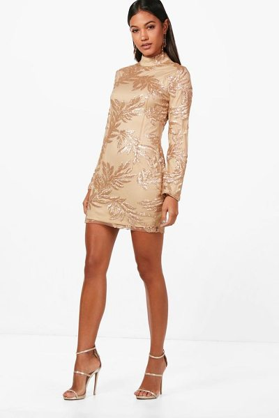 Boohoo Boutique Lisa Sequin Print Bodycon Dress in gold - Dresses are the most-wanted wardrobe item for...
