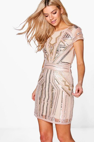 Boohoo Boutique Sequin Cap Sleeve Shift Dress in blush