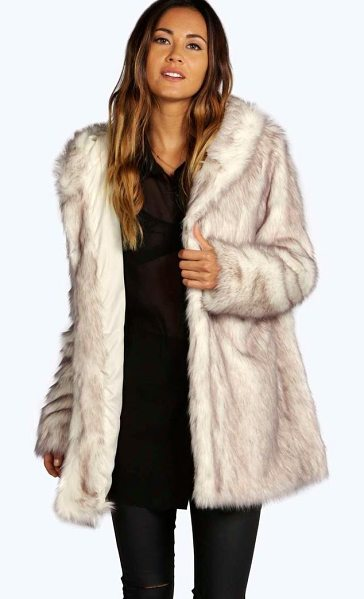 Boohoo Boutique Hooded Faux Fur Coat in cream