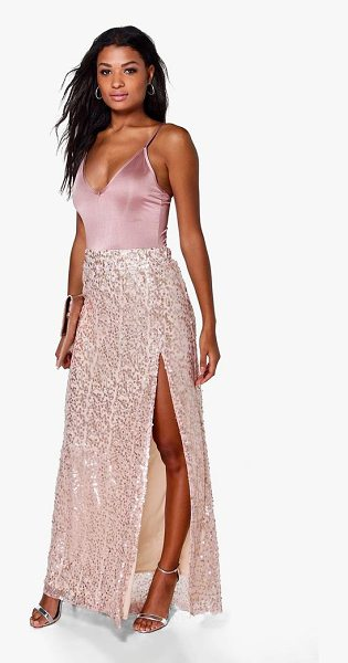 Boohoo Boutique Lola Thigh Split Sequin Maxi Skirt in blush - Skirts are the statement separate in every wardrobe This...